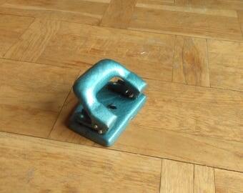 Perforatrice vintage en métal industriel trou Punch Bureau fournitures bleu métal papier Punch polonais vieux bureau Decor Made In Poland