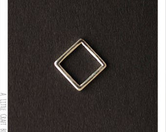 8 charms / square geometric connector - silver