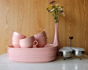 Mid Century Pink Melmac Plates & Cups