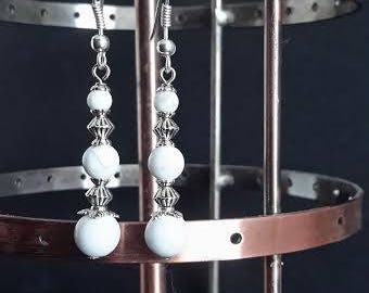 "Natural white tie beaded Pearl Earrings ""Duchess"" Silver 925/1000"