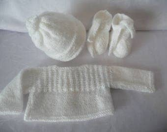 Top hat handmade knit white slippers