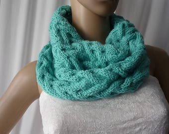 closed scarf turquoise handmade knit wool and acrylic