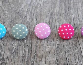 Set of 5 buttons 17mm dot fabric: blue green purple pink Fuchsia