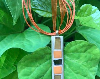 Orange Mosaic Pendant Necklace