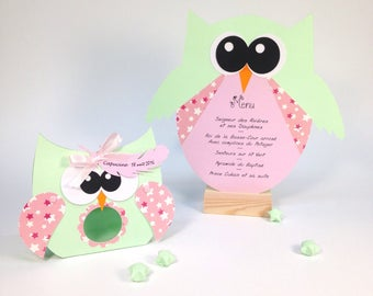 Box dragees OWL for baptism, customizable, size: 11 by 10cm paper 210g