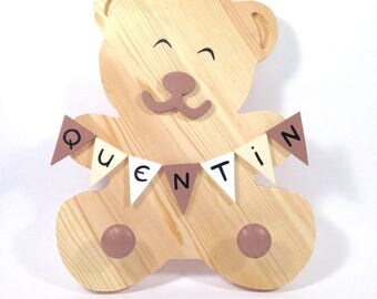Theme Teddy bear with name personalized custom flags, wooden coat rack dimensions: 22.5 27.5 cm pine wood