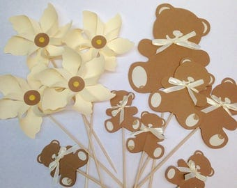 Set of 7 cake topper 4 pinwheels and Cubs, customizable upon request! Paper 210g