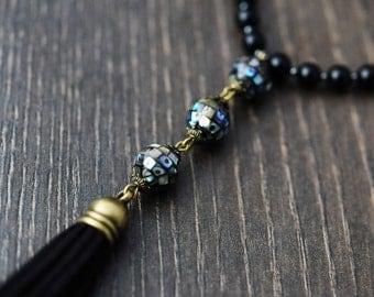 Gemstone Tassel Necklace Tassel Jewelry Black Tassel Necklace Gemstone Necklace Long Boho Necklace Long Beaded Necklace Long Necklace