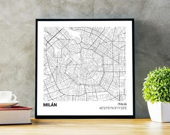 Poster map of Milan (Italy) 23 x 23. Ideal plate for decoration or as a gift.