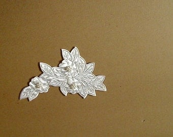 Leaf pattern with white sewing beads