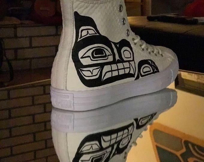 Haida Wolf Customs Size 10 mens hi top Converse Chuck Taylors