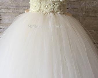 Ivory flower girl dress, ivory tutu dress, baby dress, wedding tutu dress, tutu dress for toddler girl, flower girl dress tulle, wedding