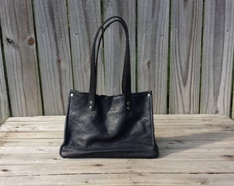 "Ladie's Black Leather Handbag, Deer Skin, Paris Fabric Interior, Black Veg Handles, Security Rivets, Handcrafted in USA - (12""X10""X5"")"