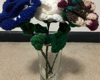 Handmade Roses  Crocheted Roses Wedding flowers  Valentines day  ideas  Mother's Day ideas