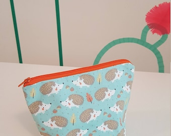 Cute hedgehog pouch, cosmetic bag, zippered pouch, double-sided, handmade