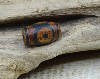 Perle Dzi agate dark Tibetan handcrafted ethnic 25x15mm