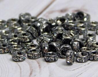 25 or 50pcs - 4mm - Rhinestone Spacer Beads - Rhinestone Rondelle - Gunmetal Beads - Metal Spacer Beads - (3977)