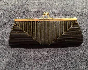 Black Vintage Pleated Clutch Shoulder Bag