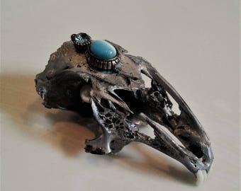 Chrome Rat Skull with Ornament