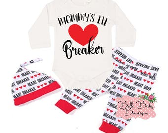 Baby Boy's 1st Valentine's Day Pants Outfit | Red and Black Mommy's Lil Heartbreaker Valentine's Day Vinyl Design
