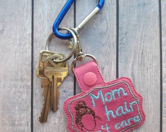 Mom hair don't care snap tab, mom hair don't care keychain, mom keychain, funny mom keychain, funny mom accessories, mom hair snap tabs