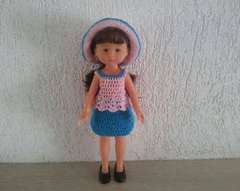 Hat doll 33cm, top and skirt set