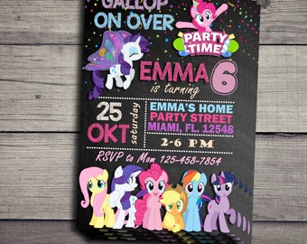 My Little Pony Birthday Invitation, My Little Pony Birthday Party, Little Pony Invitation, Little Pony Invite Printable File, Pony Party