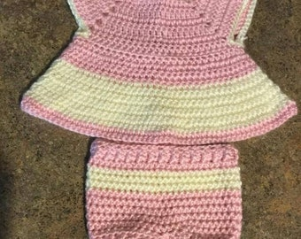 Handmade crochet baby dress with diaper cover