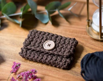 Clutch vegan organic knit for business cards or credit card, gift, man, woman, business, mixed, unisex
