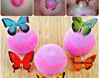 NEW! Neon Pink Purple Butterfly Bath Bomb Fizzy | Banana Coconut Scent | Surprise Toy Inside | Bath Bomb for Kid | Children | Girls