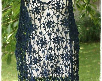 Women top, Navy blue tunic crochet size 44/46. Tunic french size 42/44/46. Dress.