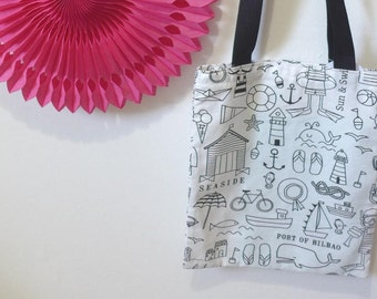 Bag, Tote bag, colorier_ for walks, school trips lutins_ holiday pattern