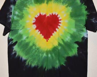 Size Medium Tie Dye, T-Shirt, Rasta Heart