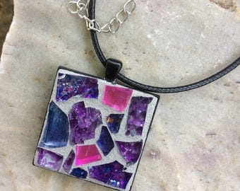 Mosaic Jewelry/Mosaic Pendant/Purple Stained Glass Necklace Pendant/Wearable Art/Gift for Her Under 30/Mosaic Gift