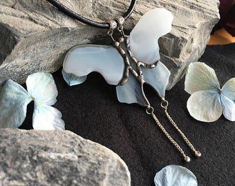 Stained glass pendant ~  Moth ~ Tiffany technique ~ Original design ~ Stylish Jewelry ~ Tiffany technic ~ Art Glass ~ Handmade