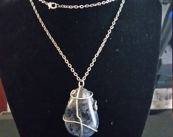 Wire wrapped SODALITE pendant (LARGE)