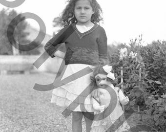 Negative photography old 1930's little girl & her Walker antique BISQUE doll