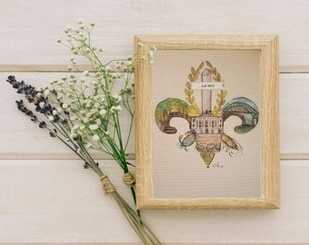 Custom Louisiana Parish Fleur de Lis Made to Order Nola Pride Wall Art Decor Southern Pride Hometown Home Fine Art Painting