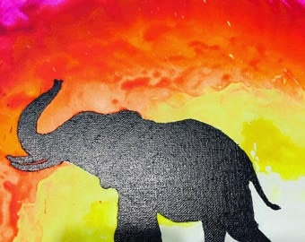 Melted Crayon Background Animal Silhouette