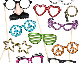 14 Photo Booth Props, Fun Glasses - Instant Download - Free Photo Booth Sign