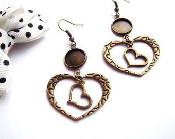 Supports earrings bronze ring 12mm, openwork hearts