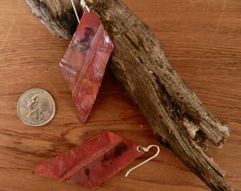 Freeform diamond fold-formed copper earrings on Sterling Silver ear wires