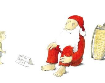 Post card, humor, Santa Claus, crisis, gift