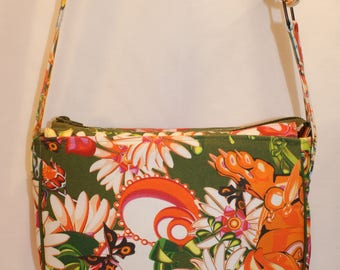 Multicolor fabric shoulder bag