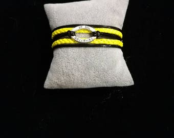 yellow and black leather MULTISTRAND bracelet