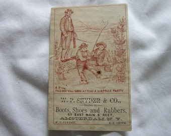 C 1885 Antique Victorian Trade Card Boots Shoes & Rubbers Amsterdam New York W.P. Snyder Co.