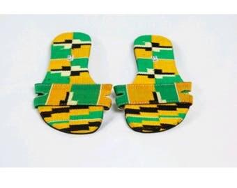Ladies kente slippers. Ladies kente flip flops. Ladies slippers. Kente slippers.
