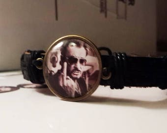 adjustable leather strap with 1 cabochon under glass dome 25 mm Johnny Hallyday