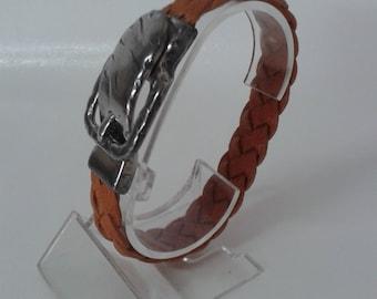 Leather Bracelet braided four strand orange color.