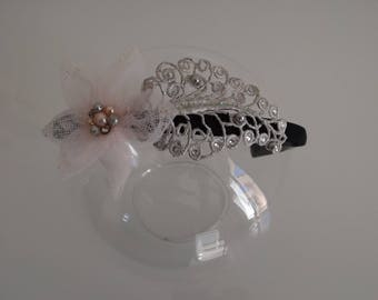 Silver leaves and pink tulle flower headband